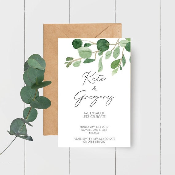 Eucalyptus Leaves We're Engaged Couples Engagement Party Invitations (25)