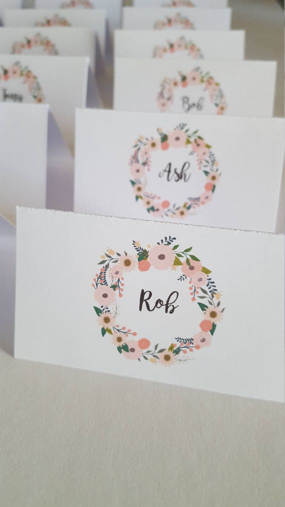 Floral Wreath Wedding Place Cards x 75