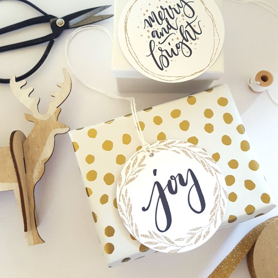 Gold Leaf Wreath Joy Gift Tags