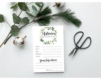 Eucalyptus Wreath Baby Advice Cards x 12   Botanical Greenery Baby Shower Cards