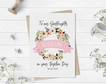 Floral Goddaughter Baptism Card