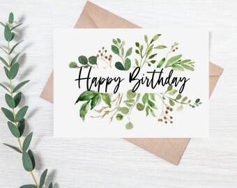Botanical Leaves Happy Birthday Card