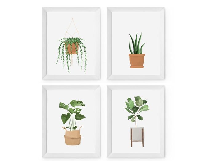 Featured listing image: Set of 4 House Plant prints