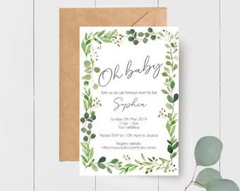 Oh Baby Greenery Leaves Botanical Baby Shower Bundle