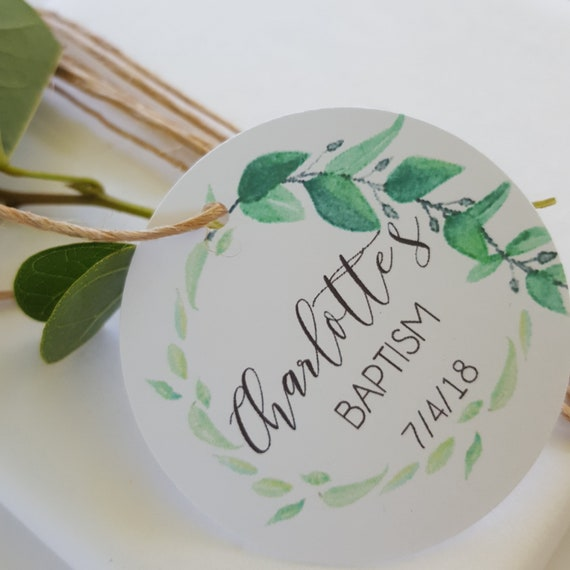 Watercolour Greenery Wreath Baptism Favour Tags x 40