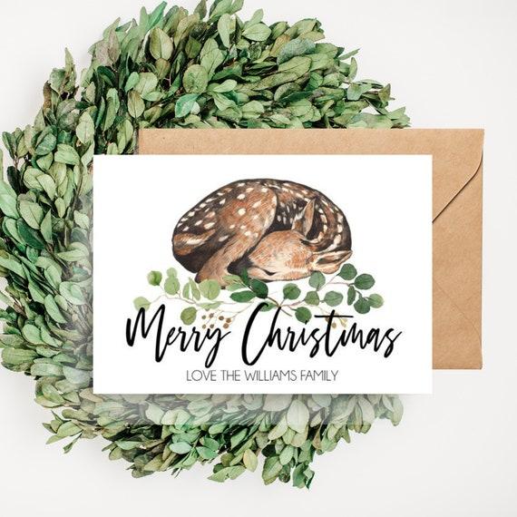 Woodland Deer Personalised Merry Christmas Card