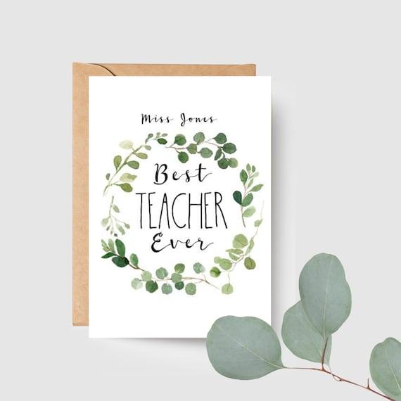 Personalised Eucalyptus Leaf Wreath Best Teacher Ever Card