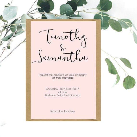 Modern Blush Pink Wedding Invitations