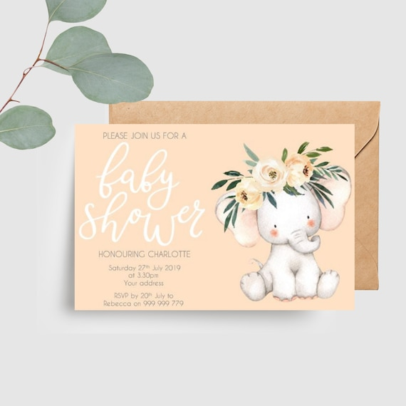 Baby Elephant Baby Shower Invitations (20)