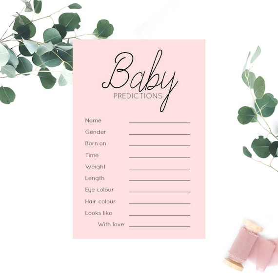 Modern Blush Pink Baby Prediction cards x 20