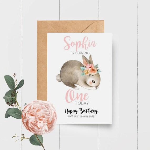 Bunny 1st Birthday Card