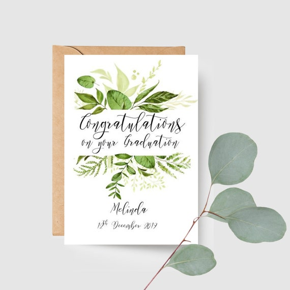 Custom Botanical Congratulations on your Graduation Card
