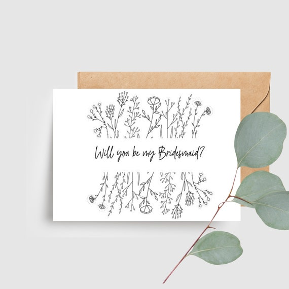 Botanical Wildflower Will you be my Bridesmaid Card