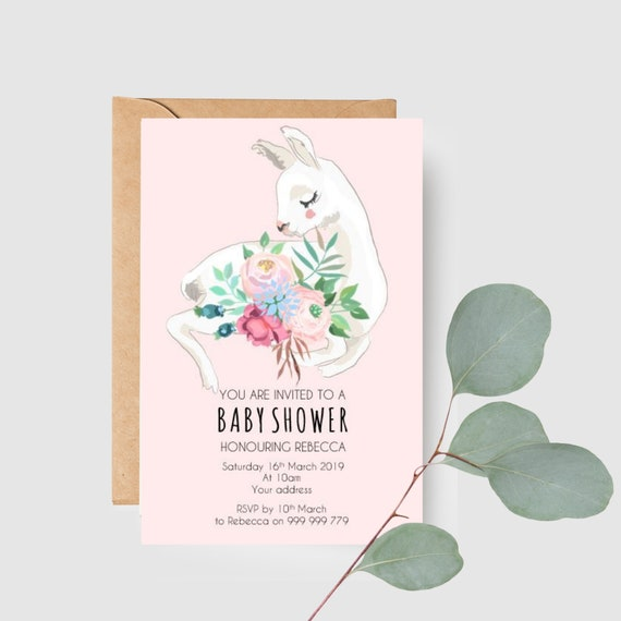Floral Llama Baby Shower Invitations (20)