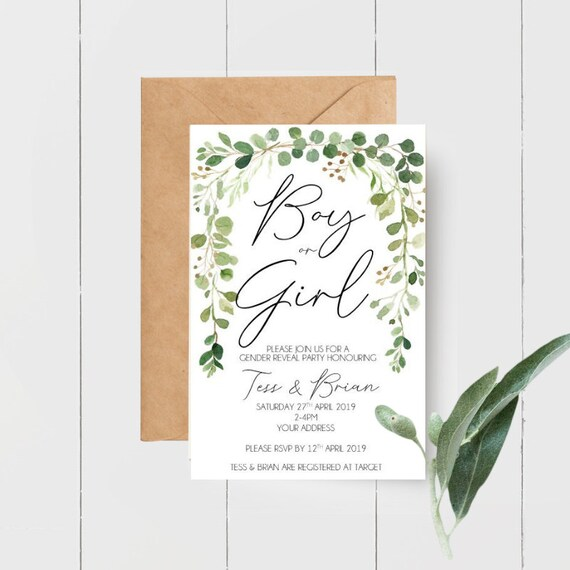 Boy or Girl Gender Reveal Greenery Leaves Botanical Baby Shower Invitations x 10
