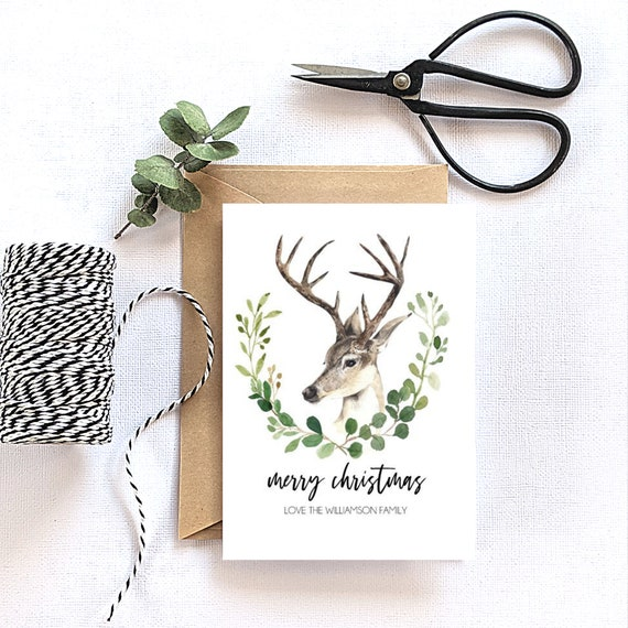 Personalised Reindeer Head Merry Christmas Card
