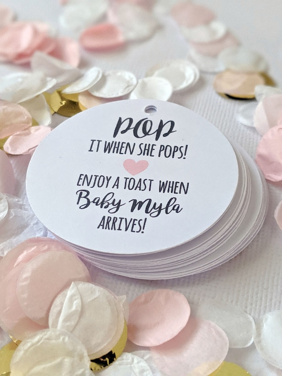 Pop It When She Pops Baby Shower Favour Tag (25) | Wine bottle tags | Baby is coming | Pop the cork | Wine Bottle Favor | Mini Champagne Tag