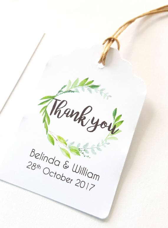 Watercolour Leaf Wreath Wedding Thank you Favour Tags - Set of 20