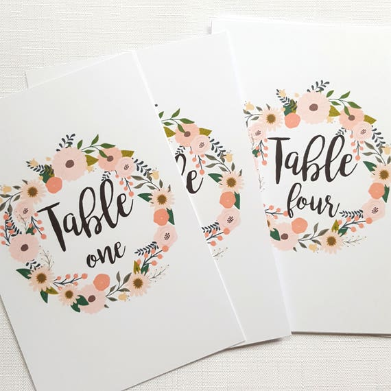 Floral Wreath Wedding Table Number Cards