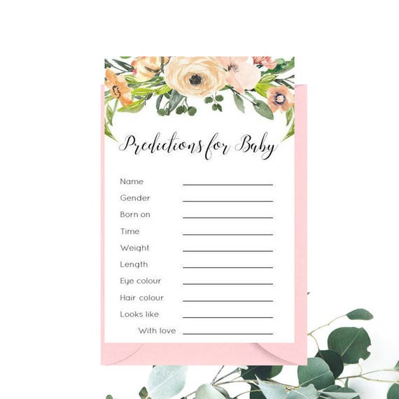 Watercolour Floral Baby Shower Predictions for Baby cards x 20 | Printed Baby Prediction Cards | Pink Baby Shower