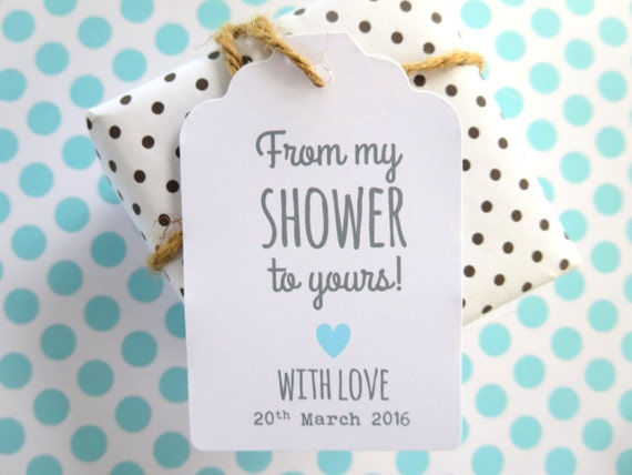 From My Shower to Yours Personalised Baby Shower Favour Tags - Set of 20