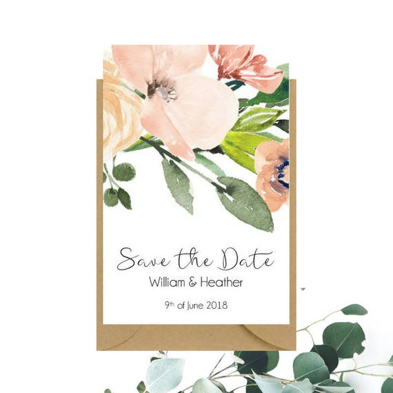 Printed Watercolour Floral Save The Date cards x 30
