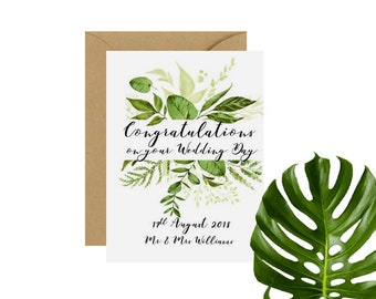 Botanical Congratulations on your Wedding Day Card | Botanical Wedding Card | Personalised Wedding Card