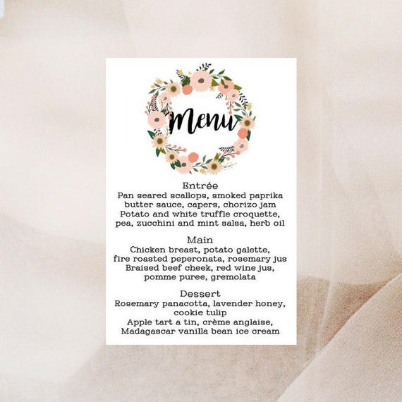 Floral Wreath Wedding Menu Cards x 10