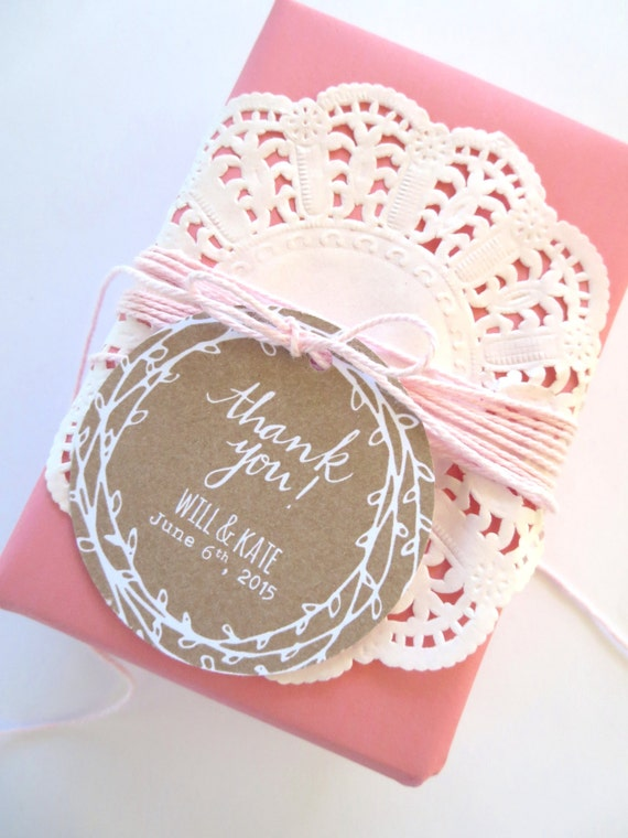 Rustic Laurel Wreath Wedding Thank you Favour Gift Tags