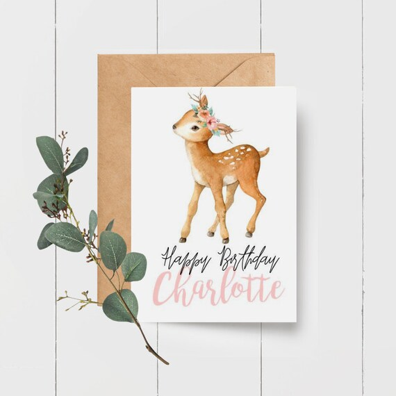 Cute Kids Deer Birthday Card