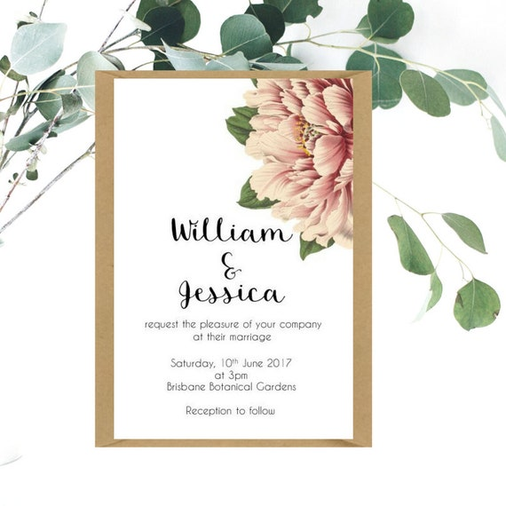 Peony Wedding Invitation and RSVP card | Garden Wedding | Floral Wedding Invitation | Printed Wedding Invitation | Vintage Peony