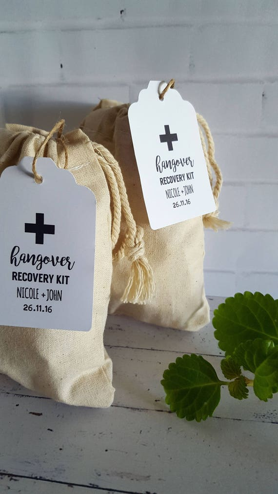 Personalised Hangover Recovery Kit Tags / Wedding Favour tags x 25