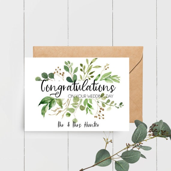 Personalised Greenery Leaves Congratulations on your Wedding Day Card