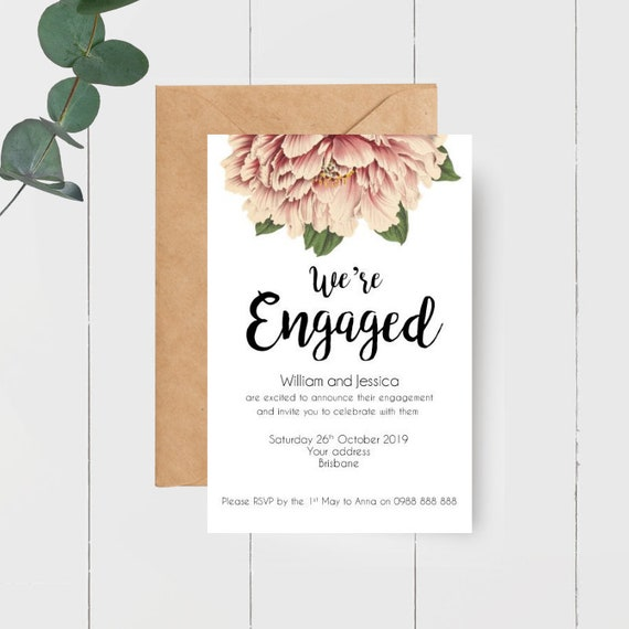 We're Engaged Vintage Peony Invitations