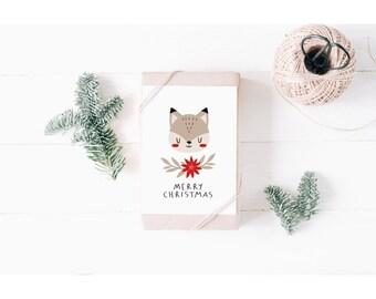 Cute Fox Merry Christmas Card | Kids Christmas Card | Xmas Card for Child