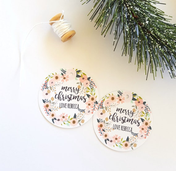 Floral Merry Christmas Gift Tags (12)