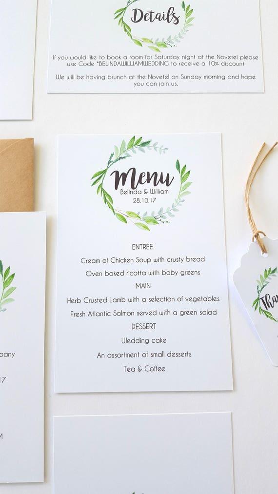 Watercolour Leaf Wreath Wedding Menu Card x 25