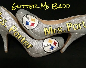 d8bf75b14960 Pittsburgh Steelers Glitter heels with name