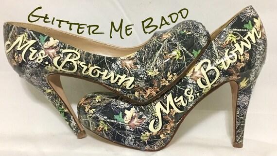 Mossy Oak Camo Heels with Wedding Name