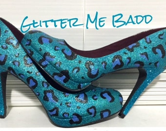 Cheetah print glitter heel-blue and black