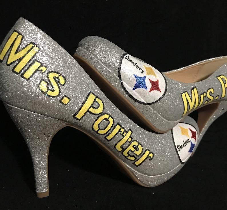 6c18b48708e Pittsburgh Steelers Glitter heels with name