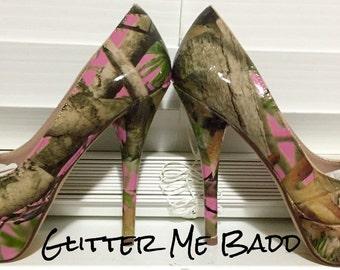 Pink Tree Camo Heels