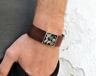 Steampunk Mens Leather Bracelet Cuff Unisex Bracelet Customized To Your WristFathers day gift
