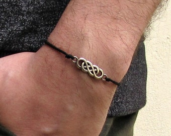Silver Tribal Bracelet, Silver Puzzle Tribal, Cord Bracelet For Men, Elastic Bracelet, Bestfriend Bracelet, Adjustable  6 - 9 1/2 Inches