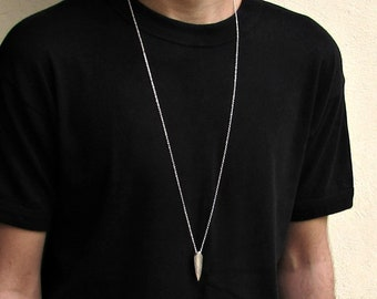 Arrowhead Men's Necklace Men's Minimal Long Necklace Men's Arrow Silver Necklace Mens Jewelry