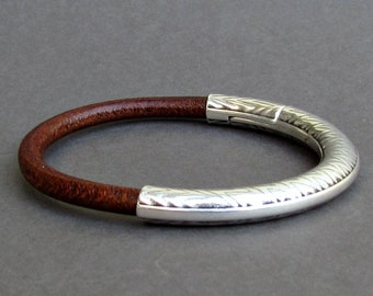 Leather Bracelet For Men, Silver Mens Rustic Bracelet, Mens Leather bracelet, Mens Gift, Customized On Your Wrist Fathers day gift