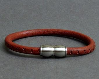 Red Mens Leather Bracelet, Green Leather Bracelet, For Men, For Husband,  For Boyfriend, For Him, Boyfriend Gift, Mens Gift