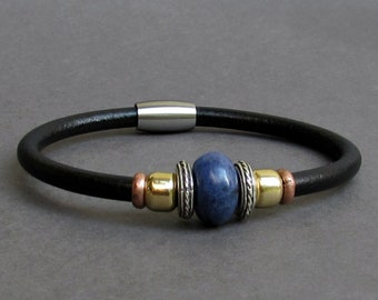 Sodalite Leather Bracelet For Men Women Beaded Gemstone Bracelet Silver Bracelet Boyfriend Gift Mens Jewelry customized to your wrist