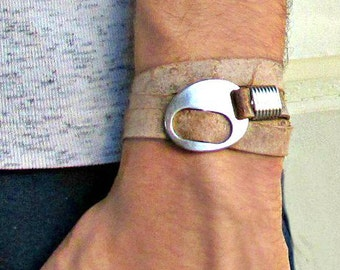 Mens Leather Bracelet, Wrap Bracelet Cuff, Unisex Bracelet, Adjustable to your wrist W04