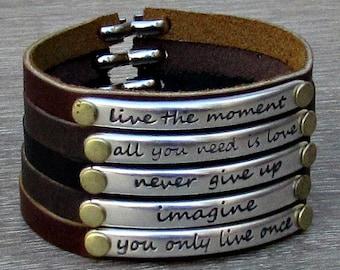 Motivational Bracelet, Quote Bracelet, Inspirational Leather Bracelet, Motivation Jewelry, Bar Bracelet,Customized On Your Wrist
